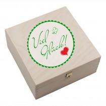"""Hufeisen-Box mit Motiv """"Viel Glück mit Herz"""""""