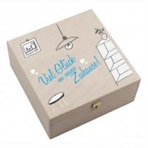 """Hufeisen-Box mit Motiv """"Viel Glück im neuen Zuhause"""" rosa oder hellblau"""