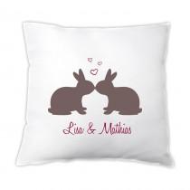 Kissen - Küssende Hasen - mit Namen