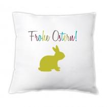 Osterkissen - Frohe Ostern! - (mit grünem Hasen Motiv)