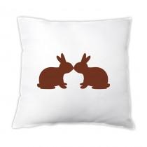 Osterkissen - zwei Hasen in braun