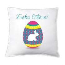 """Osterkissen """"Frohe Ostern!"""" (mit Hasen im Ei)"""
