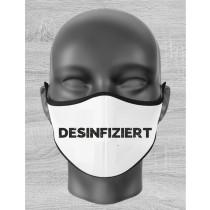 """Mund Nase Maske Kind mit """"DESINFIZIERT"""" Motiv und Gummizug"""