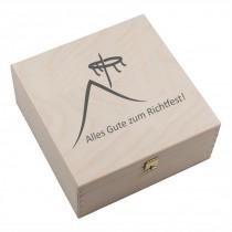 """Hufeisen-Box mit Motiv """"Alles Gute zum Richtfest"""" (Hausdach und Richtkranz)"""