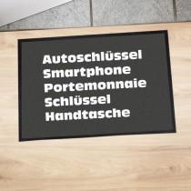 """Fußmatte """"Autoschlüssel, Smartphone, Portemonnaie, Schlüssel, Handtasche"""""""