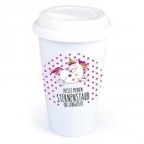 """Coffee-to-Go-Becher mit Einhorn-Motiv """"Fresst meinen Sternenstaub Ihr Langweiler"""""""