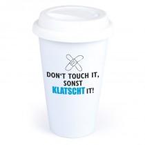 "Coffee-to-Go-Becher mit Motiv ""Don`t touch it"""
