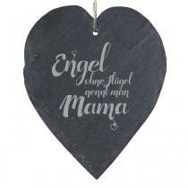 """Schieferherz """"Engel ohne Flügel nennt man Mama"""""""