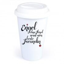 """Coffee-to-Go-Becher mit Motiv """"Engel ohne Flügel nennt man beste Freundin"""""""