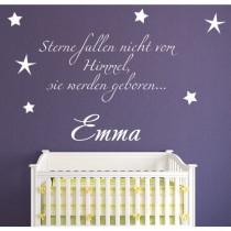 """Wandtattoo mit Namen """"Sterne fallen nicht vom Himmel, sie werden geboren..."""""""