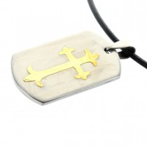 Edelstahl Dog Tag Anhänger - Kreuz - mit Lasergravur