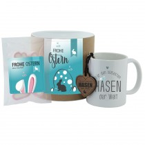 """Geschenk-Set""""Frohe Ostern - Für den süßesten Hasen der Welt"""" (rosa oder blau)"""