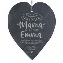"""Schieferherz """"Für die beste Mama auf der Welt"""" - mit Personalisierung"""