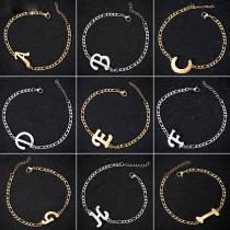 Edelstahl Armband mit Buchstabe in Gold oder Silber