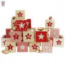 DIY Adventskalender Schachteln - Boxset 24 Stück inklusive Aufkleber - Motive Rot-Beige