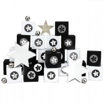 DIY Adventskalender Schachteln - Boxset 24 Stück inklusive Aufkleber - Motiv Schwarz-weiß