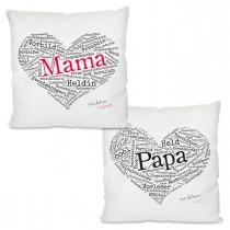 Kissen mit Motiv Modell: Herz aus Worten - Für Mama oder Papa