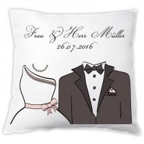 """Kissen """"Braut / Bräutigam"""" mit Namen und Hochzeitsdatum"""