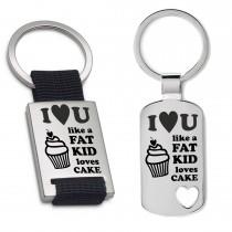 Schlüsselanhänger: I love you like a fat kid loves cake