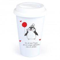 """Coffee-to-Go-Becher mit Motiv """"Ich will einen Pinguin, der mir morgens applaudiert"""""""