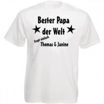 Shirt weiß oder schwarz - Bester Papa der Welt (personalisiert)