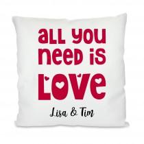 Kissen mit Motiv: All you need is love (personalisierbar)