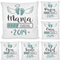 Kissen mit Motiv - 2019 Mama / Papa / Oma / Opa / Tante / Onkel LOADING...