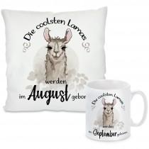 Kissen oder Tasse mit Motiv Modell: Die coolsten Lamas - individualisierbar (Monat auswählbar)