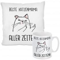 Kissen oder Tasse mit Motiv Modell: Beste Katzenmama Aller Zeiten!