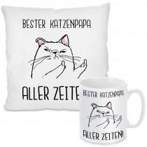 Kissen oder Tasse mit Motiv Modell: Bester Katzenpapa Aller Zeiten!