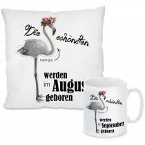 Kissen oder Tasse mit Motiv Modell: Die schönsten Flamingos - individualisierbar (Monat auswählbar)