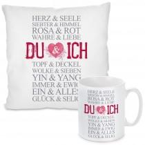 Kissen oder Tasse: DU und ICH (Rosa-Rot)