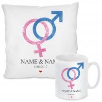 Kissen oder Tasse mit Motiv - Love (Frau + Mann)  (personalisierbar)