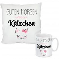 Kissen oder Tasse mit Motiv - Guten Morgen mein Kätzchen