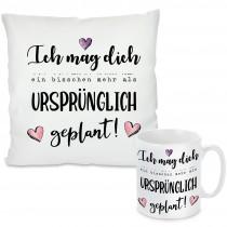 Kissen oder Tasse mit Motiv - Ich mag dich