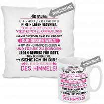 Kissen oder Tasse mit Motiv Modell: FÜR (WUNSCHNAME) - Farbe Rosa - individualisierbar
