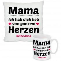 Kissen oder Tasse mit Motiv Modell: Mama, ich hab dich lieb - individualisierbar