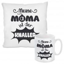 Kissen oder Tasse mit Motiv - Meine Mama ist der Knaller.