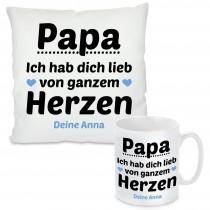 Kissen oder Tasse mit Motiv Modell: Papa, ich hab dich lieb - individualisierbar