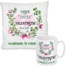 Kissen oder Tasse: Unser erster Valentinstag  (personalisierbar)