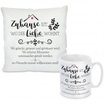 Kissen oder Tasse mit Motiv Modell: Zuhause ist...