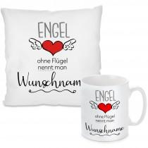 Kissen oder Tasse mit Motiv Modell: Engel ohne Flügel nennt man (WUNSCHNAME) - individualisierbar