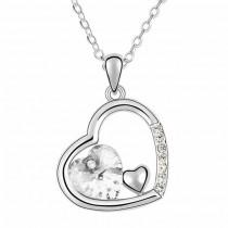 Halskette mit Herzanhänger - weiß