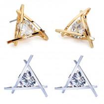 Damenohrringe Triangel - mit Strass Stein