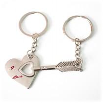 Gravur Partner Set Schlüsselanhänger Herz mit Pfeil