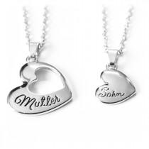 Mutter und Sohn Halskette / Herzkette