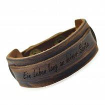 Leder Armband mit Druckknopf  2.4 cm - inklusive Gravur