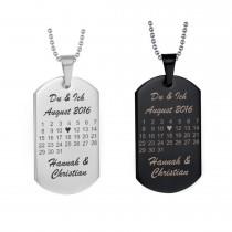 Halskette Dog Tag Anhänger Modell: Herztag Kalender