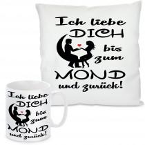 Kissen oder Tasse mit Motiv Modell: Ich liebe Dich bis zum Mond