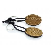 Gravur Partner Set Schlüsselanhänger aus Holz - Modell: Du bist mein - Ich bin dein